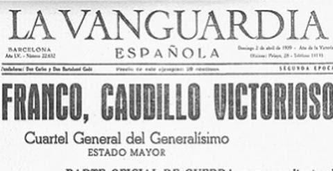 Portada de La Vanguardia tras la toma de Barcelona por parte del ejército franquista