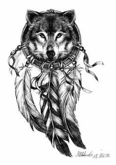 Indian Native And Wolf Head Tattoo Design