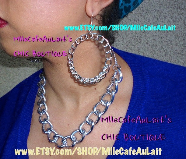 Chunk Chain Link Adjustable Statement Necklace- CHAIN REACTION Adjustable Necklace (Silver)