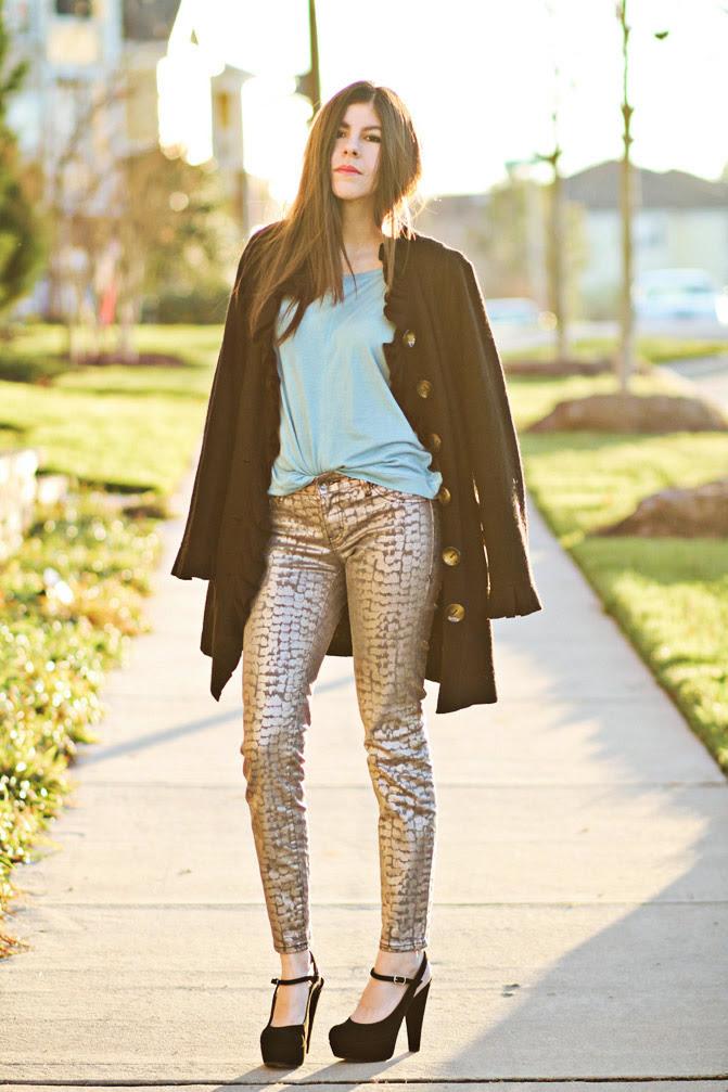 Stylemint, Marni platforms, Metallic snakeskin jeans