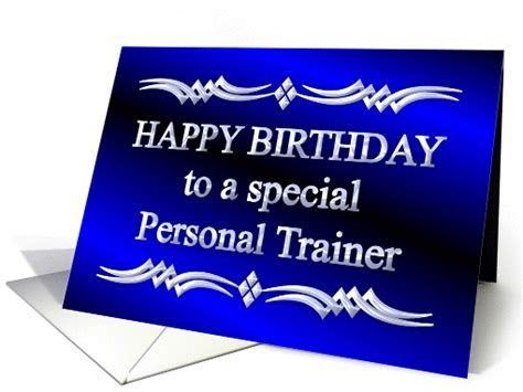 Happy Birthday Personal Trainer Blue and Silver card (1149192)