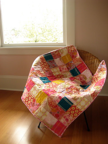 little folks quilt in a sunny glow