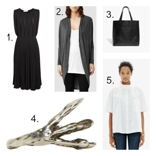 Sandro Dress - All Saints Sweater - Madewell Tote - Pamela Love Ring - Rachel Comey Shirt