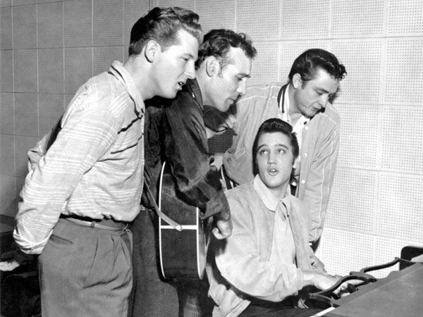 Jerry Lee Lewis, Carl Perkins, Elvis Presley, and Johnny Cash