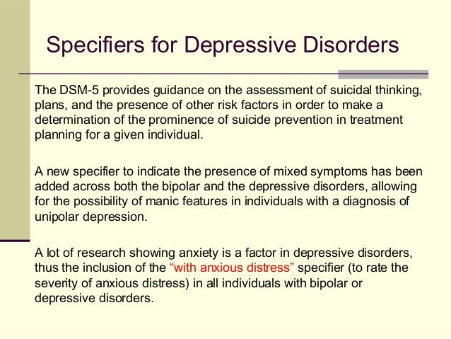 Major depressive disorder dsm 5 specifiers