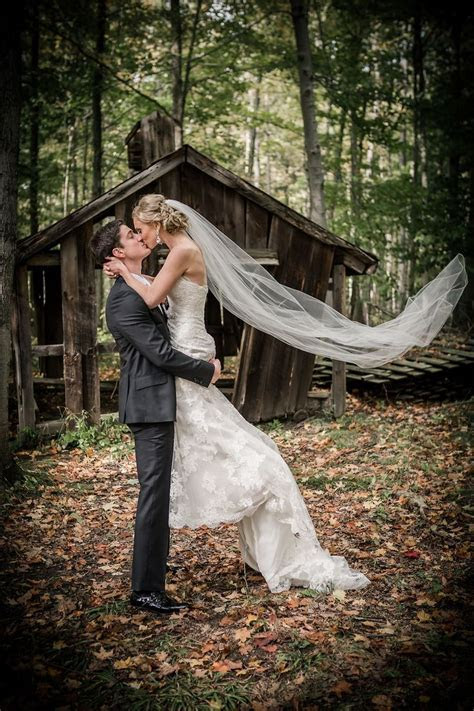 Bride and groom, Outdoor, Forest, Rustic, Fall wedding