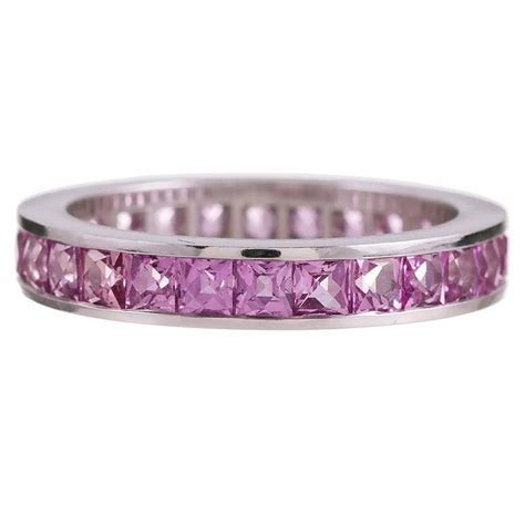 Channel Set Pink Sapphire Eternity Band For Sale at 1stdibs