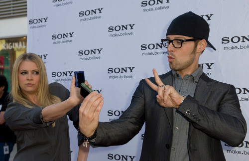 Melissa and Joey being silly.  Taking photos of themselves.
