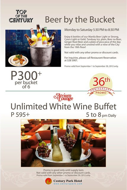 Beer by the Bucket and Unlimited White Wine Buffet