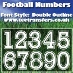 Football Numbers Double Outline Font Iron on Transfer