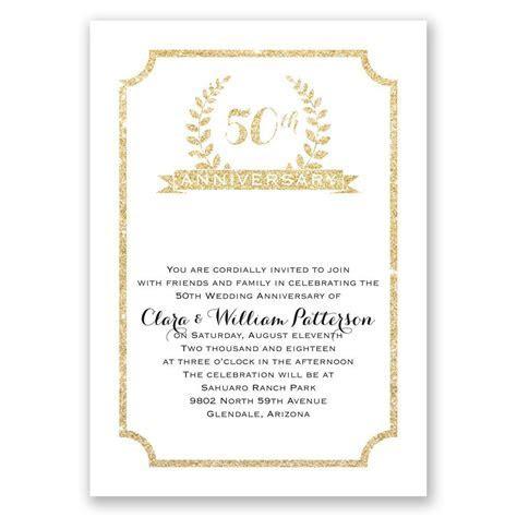 50th Crest Faux Glitter Anniversary Invitation