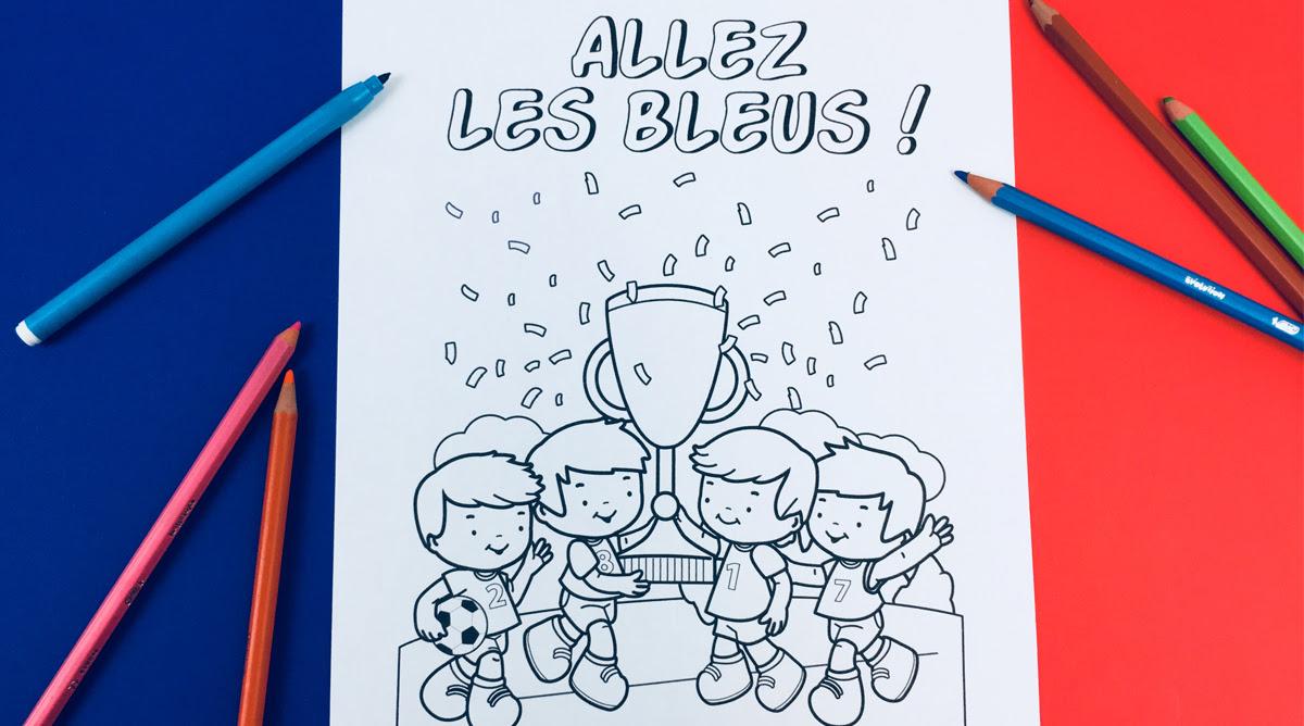 Coloriage Football Allez Les Bleus Momesnet