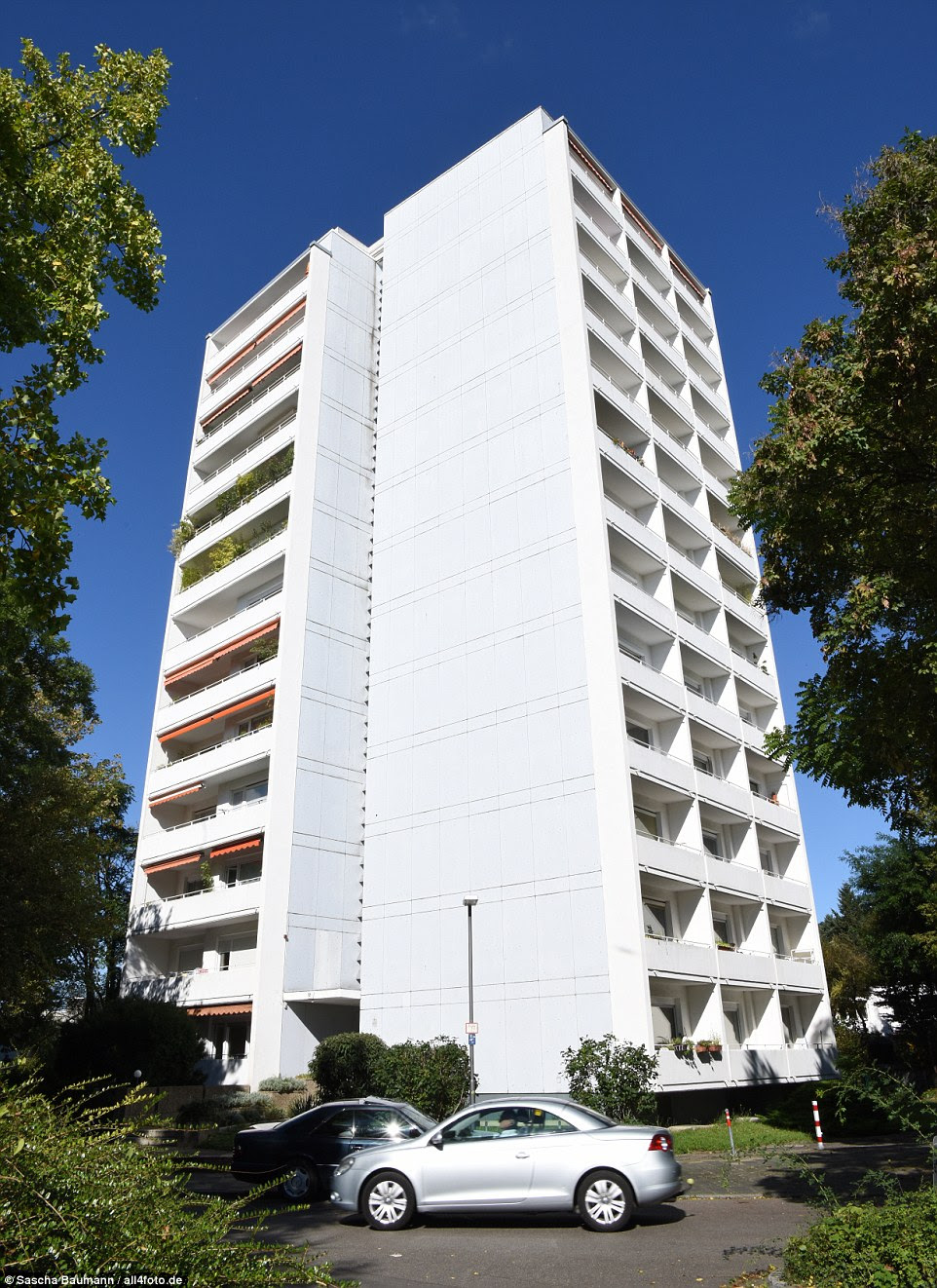 Base: Although he travels the world, Duvier was previously registered to a modest tower block in Heidelberg in south-east Germany, above