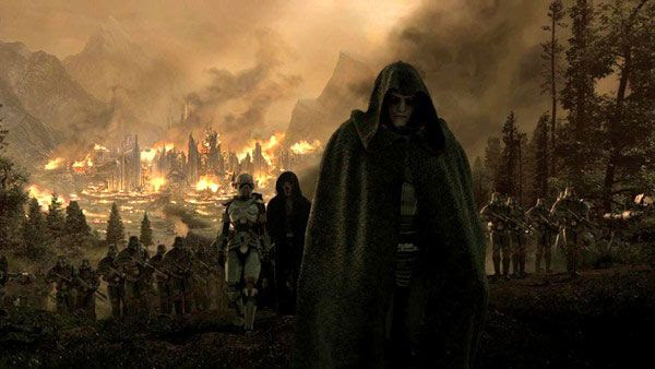 Darth Malgus leads his army away from a city he's just left in ruins.