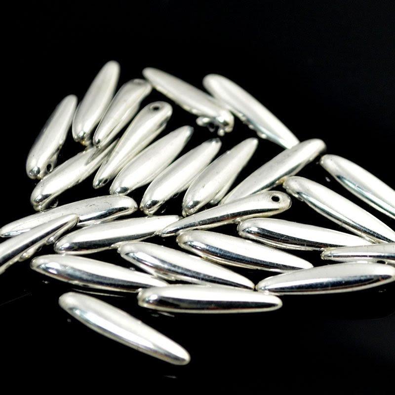 s40934 Glass Beads - 5 x 16 mm Thorns - Metallic Silver (25)
