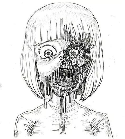 scary art black  white anime creepy horror draw manga