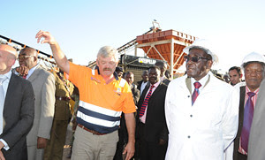 Republic of Zimbabwe President Robert Mugabe went on a fact-finding tour through two diamond mining projects in the Southern African nation. Zimbabwe is reported to be a large-scale depository of diamonds. by Pan-African News Wire File Photos