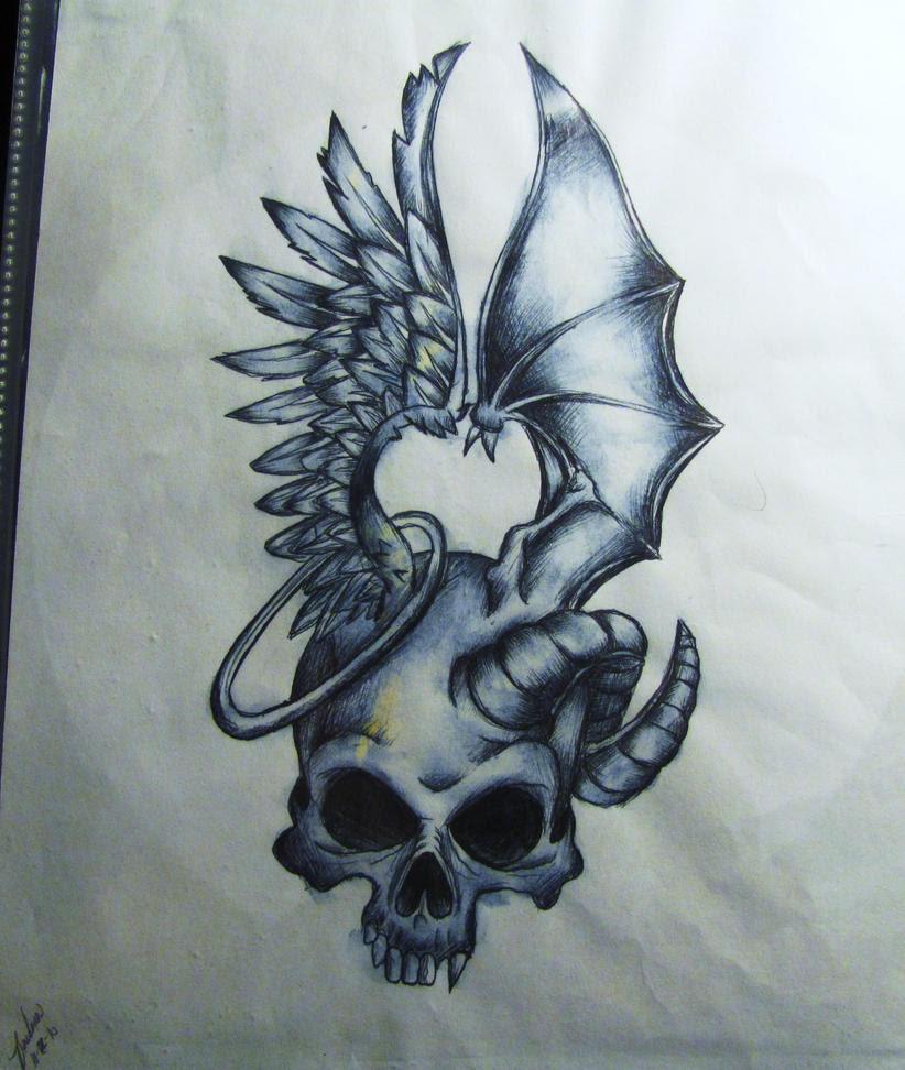 Good Vs Evil Tattoos For Women 19 Best Angel Devil Images On