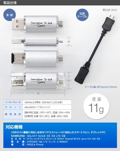 サンワダイレクト USBメモリ スマートフォン・PC対応 4GB Android USBホスト GALAXY Xperia ARROWS 対応 600-GUSD4G