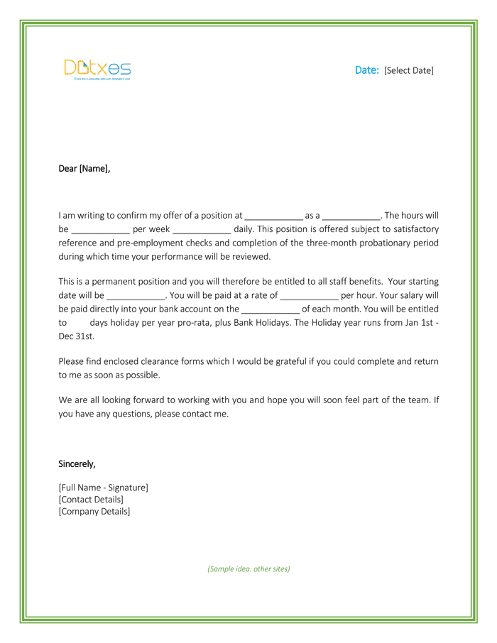 Job Offer Letter Template for Word_Page_1