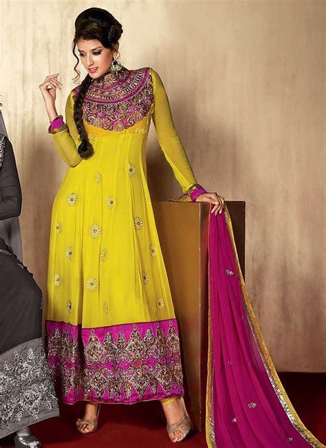 Fancy Yellow Salwar Kameez   Dress ideas for shadee