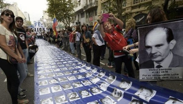Mother of the Plaza de Mayo demonstrate in Tucuman, Argentina, in memory of the disappeared, Aug. 28, 2008.