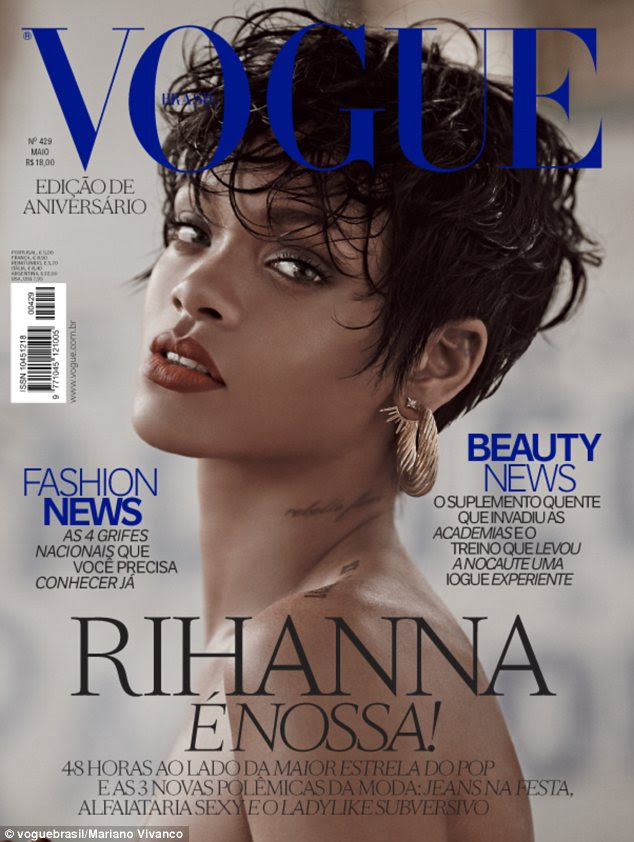 Twice as nice: There are two covers to choose from, including one of a topless Rihanna pouting her red lips