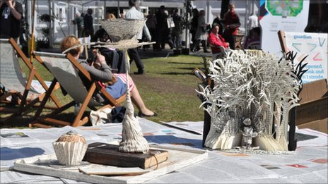 Sculptures at the Edinburgh Book Festival