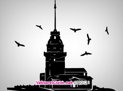 Vektörel çizim Kız Kulesi Silüeti