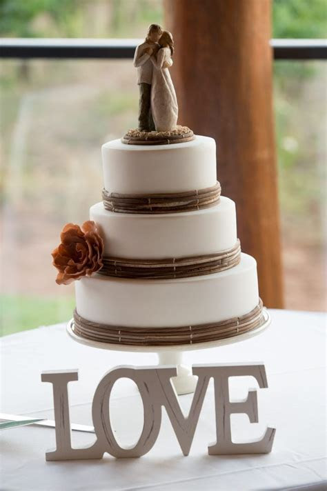 LOVE, Rustic Wedding Cake, Willow Tree Cake Topper. Photo