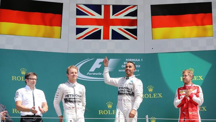 Lewis Hamilton, Nico Rosberg and Sebastian Vettel