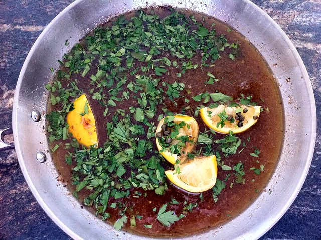 Wine, Stock, Parsley and Capers Added to Sauce