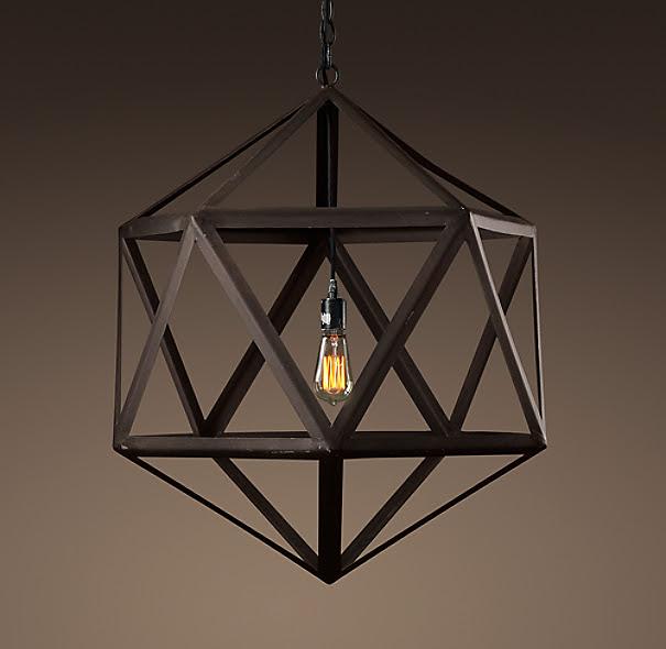 Steel Polyhedron Medium Pendant | Outdoor Lighting | Restoration ...