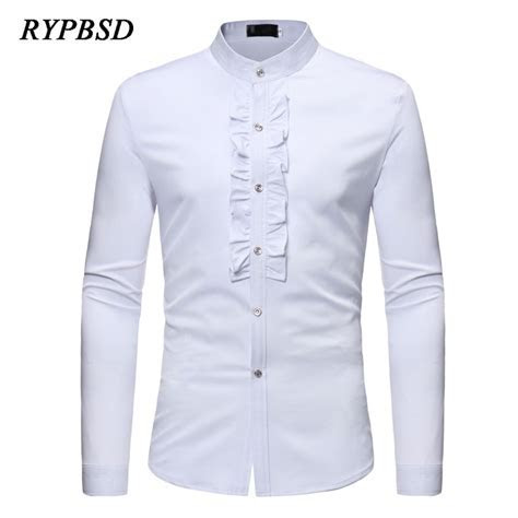 2018 Spring Lace Party Mens White Wedding Shirt Long