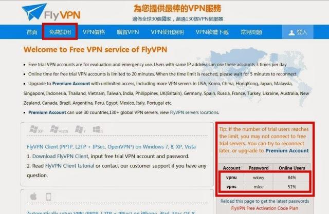 FlyVPN 免費試用