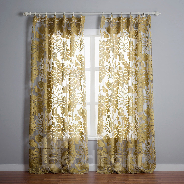 Elegant Two Pieces Yellow Custom Sheer Curtain