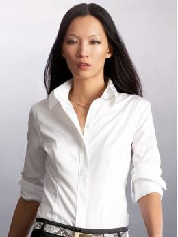 Women: Fitted non-iron shirt - White