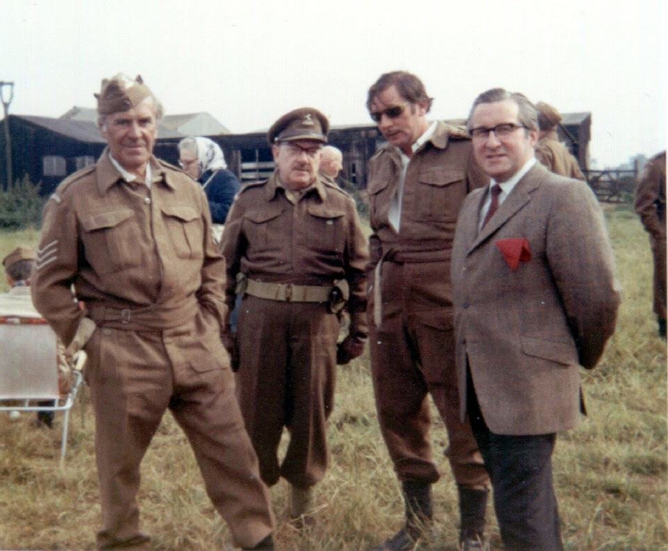 Left to right: John Le Mesurier, who played Sergeant Arthur Wilson, Arthur Lowe, who played captain Mainwaring and James Beck, who played Private Joe Walker are pictured between shoots with Eric Burroughes, the owner of the farm where filming was taking place