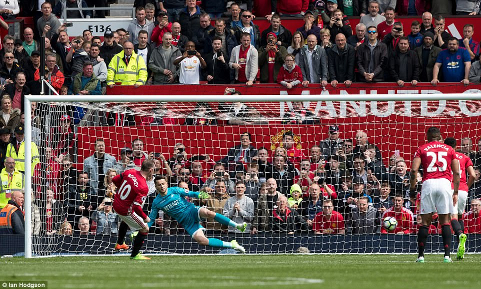 The Red Devils' highest goalscorer sent the Swansea keeper the wrong way and fired his team into the lead at Old Trafford