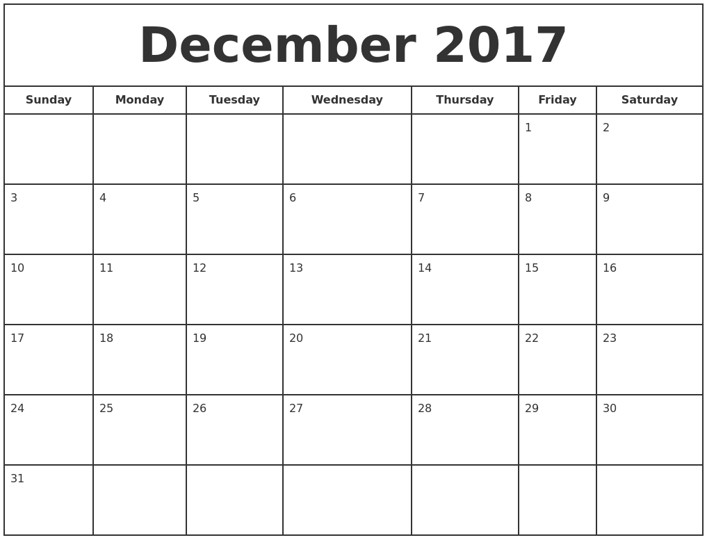 december 2017 print free calendar full weekday