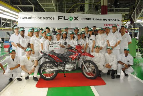 Fábrica da Honda em comemoração à produção de 2 milhões de motos flex