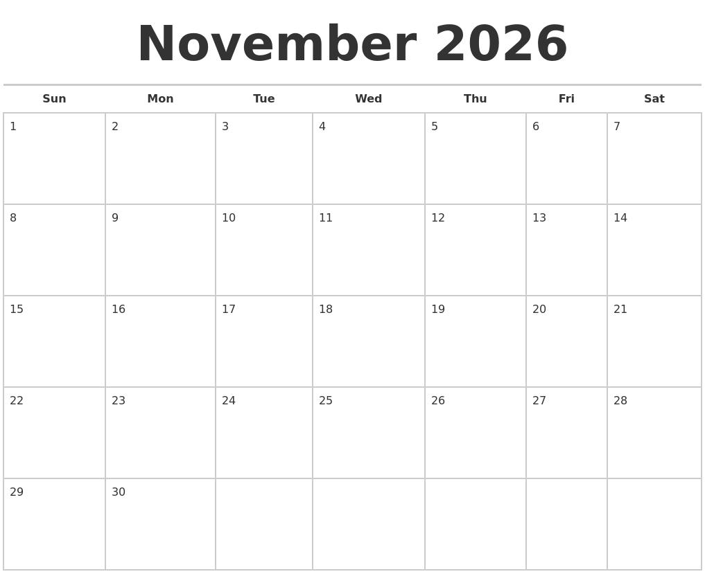 november 2026 calendars free