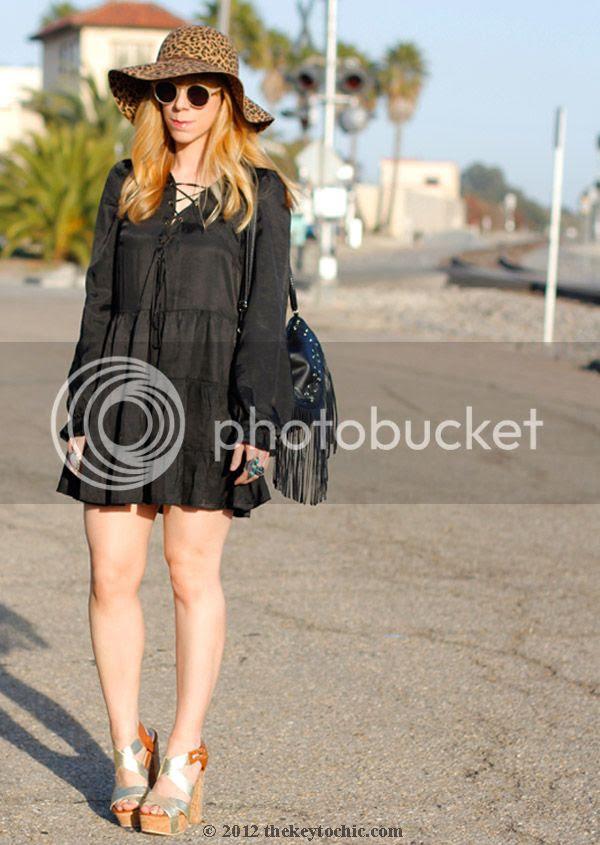 Nasty Gal black dress, leopard print floppy hat, fringe handbag, boho style, Nasty Gal style, southern California style, Los Angeles fashion blogger