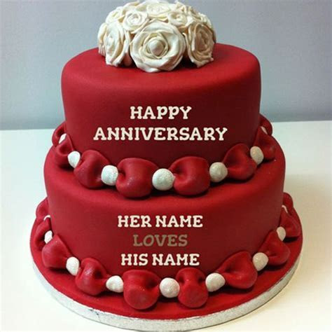 Write Name On Happy Anniversary Cakes Online Free