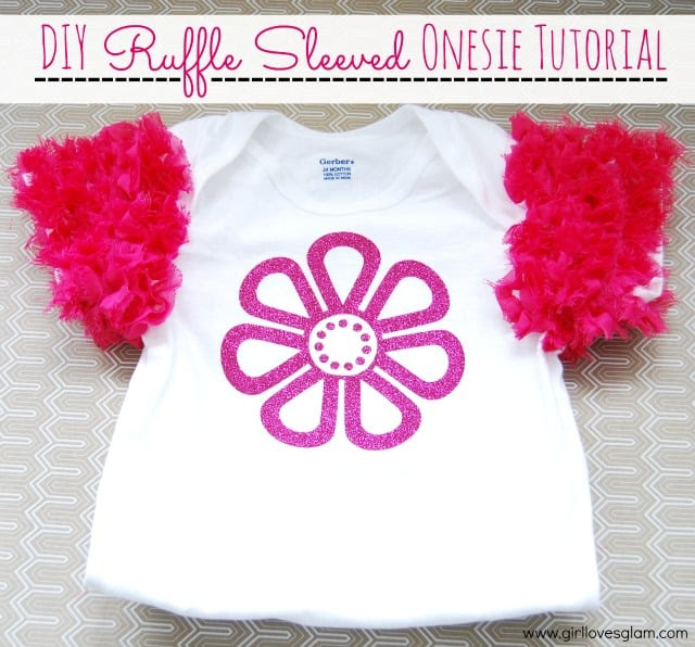 DIY Ruffle Sleeved Onesie or shirt on www.girllovesglam.com