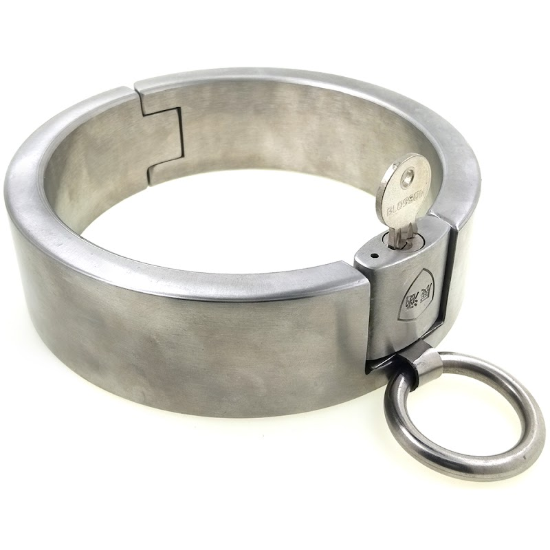 Recommended  40mm height stainless steel padlock slave sex collar fetish wear bondage restraints set adult game
