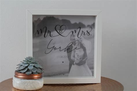 mr and mrs first anniversary wedding day box frame by baby