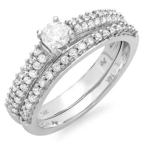 Gorgeous Twin Row Cheap Diamond Bridal Ring Set 1 Carat