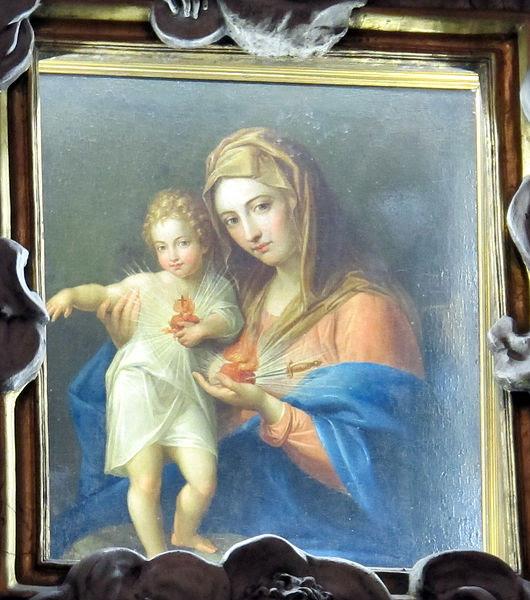 Fil: S.  Eusebio, int., Altare Maggiore, madonna di Pompeo batoni 03.jpg