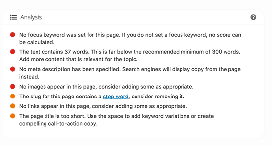Post or page analysis for SEO